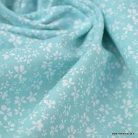 Tissu coton motif Fleurs Difatti Menthe - Oeko tex