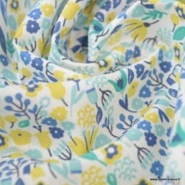 Tissu coton imprimé Alice petites fleurs Citron et Lagon -  Oeko tex