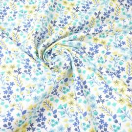 Tissu coton imprimé petites fleurs Bleu et Lagon -  Oeko tex - Motif Milly