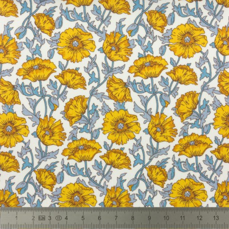 Tissu Liberty Astel Reece jaune et gris  - Oeko tex