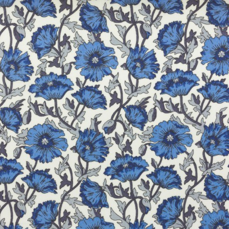 Tissu Liberty Astel Reece bleu et gris  - Oeko tex