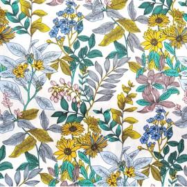 Tissu coton imprimé petites fleurs Glycines fond blanc- Oeko tex