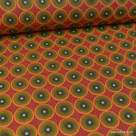 Tissu coton motifs ronds wax fond Rouge - oeko tex