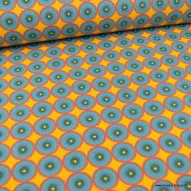 Tissu coton motifs ronds wax fond Jaune - oeko tex