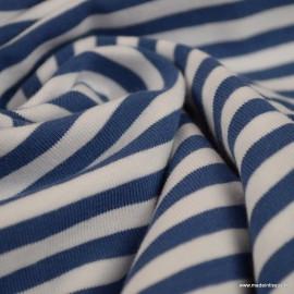 Tissu jersey à rayures  type marinière Indigo et blanc - Oeko tex
