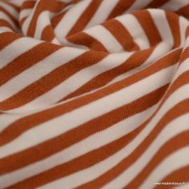 Tissu jersey à rayures type marinière Brique et blanc - Oeko tex