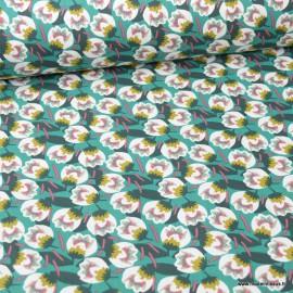 Tissu coton Dimeo motifs fleurs Emeraude et Amarante -  Oeko tex