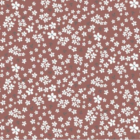 Tissu Popeline en coton Bio & oeko tex motifs fleurs fond Brique