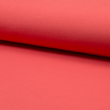 Tissu jersey Bio coloris Corail - Oeko tex et Organic