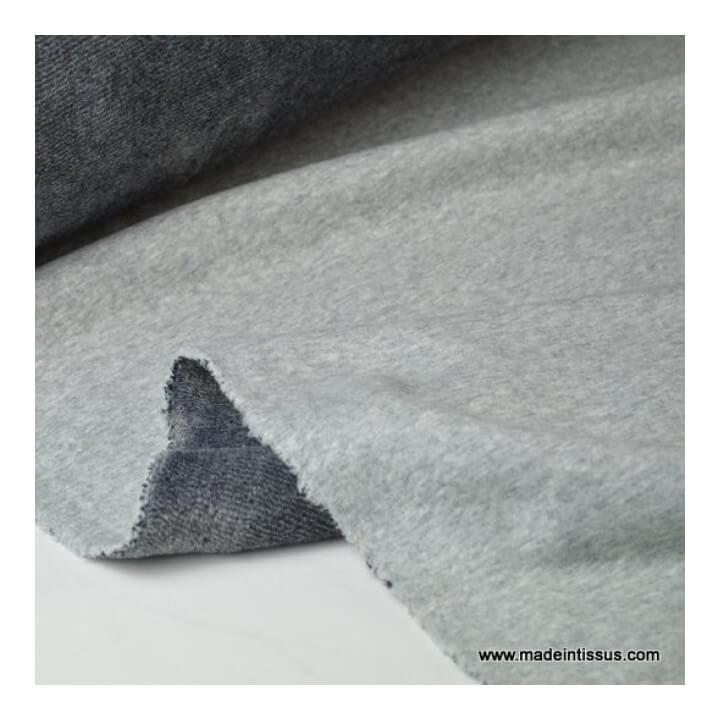 tissu sweat envers minky gris chiné