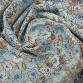 Tissu coton imprimé fleurs Kalmia Lin et Bleu Artic - Oeko tex