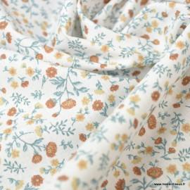 tissu Eléonie imprimé fleurs et fleurettes Muscade et Bleu Artic