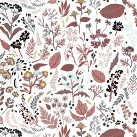 Tissu Popeline en coton Bio & oeko tex motifs fleurs et feuilles Brique
