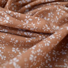 Tissu coton motif Fleurs Difatti Muscade - Oeko tex