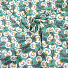 Tissu Viscose Dimeo motifs fleurs fond Emeaude - Oeko tex