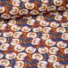 Tissu Viscose Dimeo motifs fleurs fond Rouille - Oeko tex