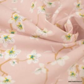 Tissu coton imprimé fleurs Amandier fond Rose Dragée - Oeko tex