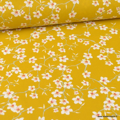 Tissu coton imprimé fleurs Amandier fond Safran - Oeko tex