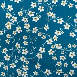 Tissu coton imprimé fleurs Amandier fond Bleu - Oeko tex