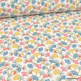 Tissu coton imprimé fleurs Aphrodite fond blanc - Oeko tex