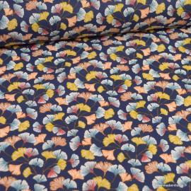 Tissu coton imprimé feuilles de Ginkgo Aphrodite fond Marine - Oeko tex