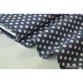 Tissu Popeline coton imprimé gros pois gris foncé