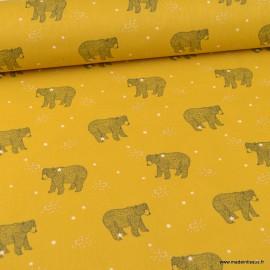 Tissu coton imprimé Ours Baloo fond Or - Oeko tex