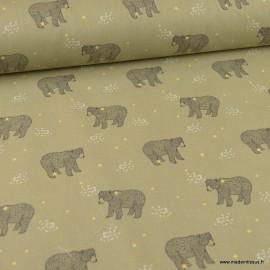 Tissu coton imprimé Ours Baloo fond Kaki - Oeko tex