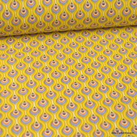 Tissu coton motif Peacock fond Jaune - Oeko tex