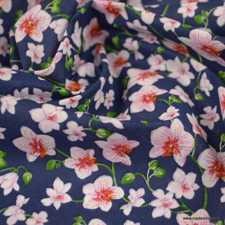 Tissu coton imprimé fleurs Bouquet fond Marine - Oeko tex