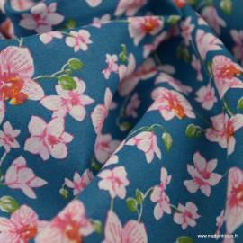 Tissu coton imprimé fleurs Bouquet fond Bleu - Oeko tex
