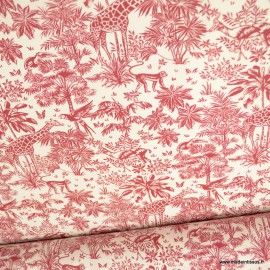Tissu coton Gazelle fond Rouge - Oeko tex