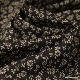 Tissu coton imprimé fleurs Liz fond Noir - Oeko tex