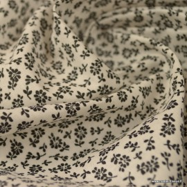 Tissu coton imprimé fleurs noires Liz fond Blanc - Oeko tex