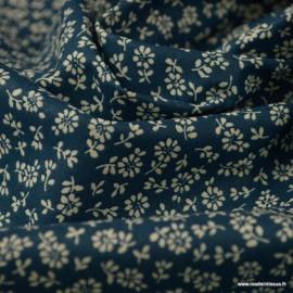 Tissu coton imprimé  fleurs Liz fond Pétrole - Oeko tex