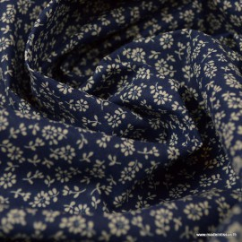 Tissu coton imprimé  fleurs Liz fond Marine - Oeko tex