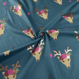 Tissu jersey motifs Biches à cornes dorées fond pétrole - Oeko tex