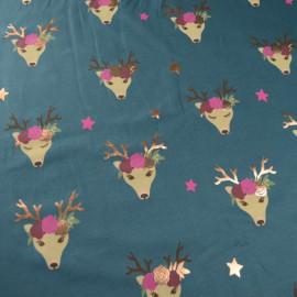 Tissu jersey motifs Biches et couronnes de fleurs dorées fond pétrole - Oeko tex