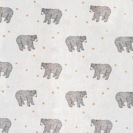 Tissu coton imprimé Ours Baloo fond Blanc - Oeko tex