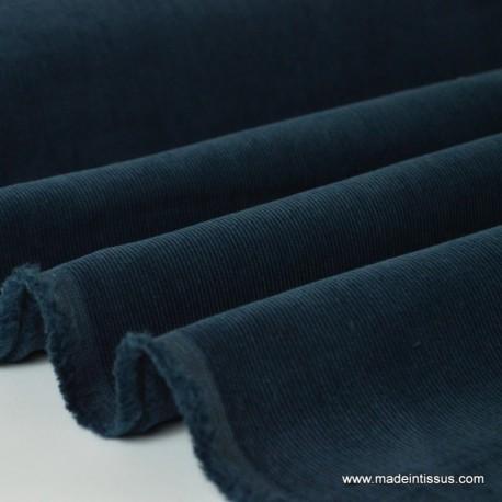 Tissu velours côtelé coton marine x50cm