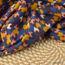 Tissu Viscose Kisnek motifs fleurs fond marine et ocre - Oeko tex