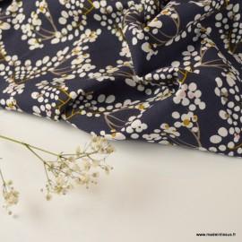 Tissu Viscose Yoichi motifs fleurs fond marine et blanc - Oeko tex