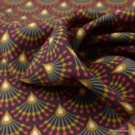Tissu Viscose Ginza motifs éventails Aubergine et Camel - Oeko tex