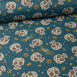 Tissu coton têtes de mort Calaveras et fleurs fond Canard