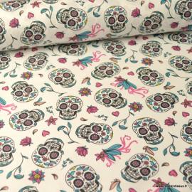 Tissu coton têtes de mort Calaveras et fleurs fond Blanc