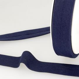 Biais replié en coton biologique 27 mm coloris bleu marine