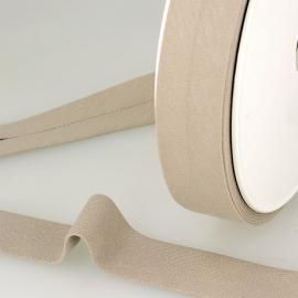Biais replié en coton biologique 27 mm coloris beige