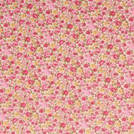 Tissu Popeline coton imprimé fleurs roses et Fuchsia .x1m