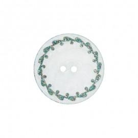 Bouton nacre River Shell 15mm vert contour fleuri