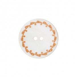 Bouton nacre River Shell 15mm orange contour fleuri
